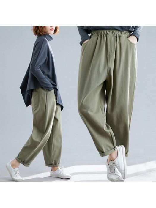 (BE5170) 顯瘦橡根腰寬鬆長褲