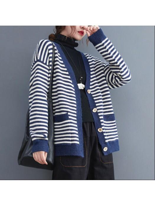 (BE5179) 間條風毛衣外套 (大碼款)