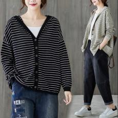 (BE5215)慵懶風連帽針織外套