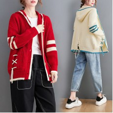 (F10504) 針織連帽外套 (大碼款)
