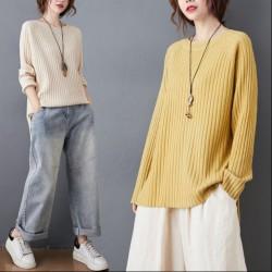 (BE5155) 純色開叉針織衫