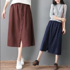(BE5157) 棉麻A字半身裙