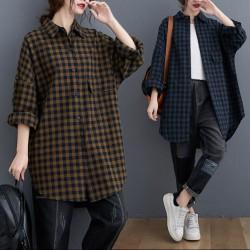 (BE5160) 鬆身格仔恤衫