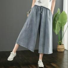 (BE5162) 牛仔七分褲寬鬆裙褲