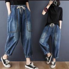 (BE5148) 明線刺繡大口袋牛仔褲