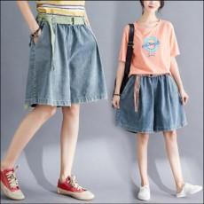 (BE5020) A字闊腿牛仔短褲