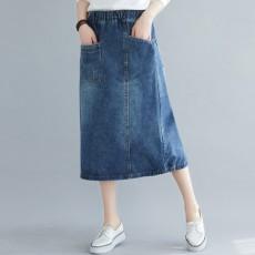 (BE5057) 大口袋牛仔A字半身裙