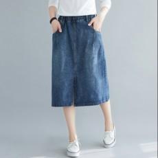 (BE5058) 橡根腰開叉牛仔半身裙