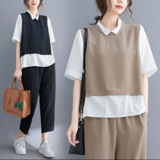 (BE5100) 拼色假兩件上衣+顯瘦九分褲 套裝