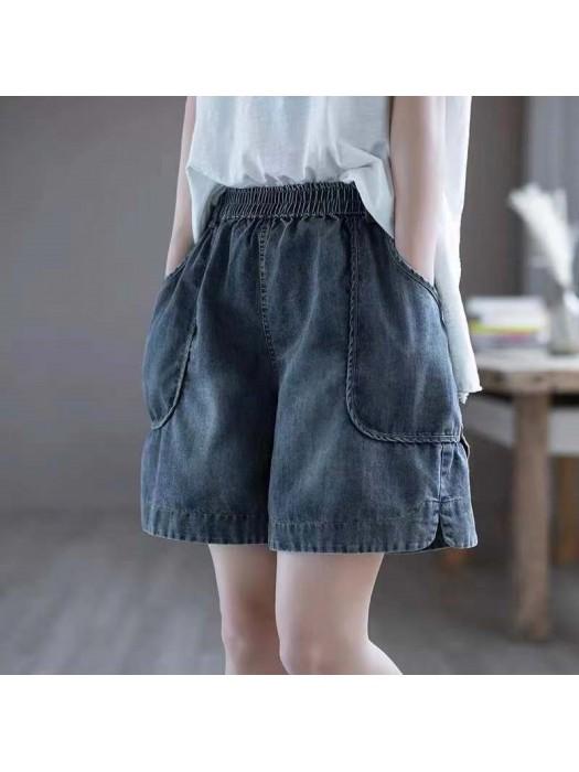 (F10433) 牛仔短褲  (大碼款)
