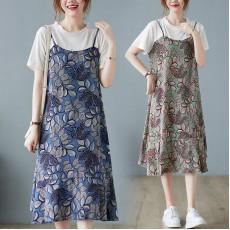 (F10453) 假兩件連身裙 (大碼款)
