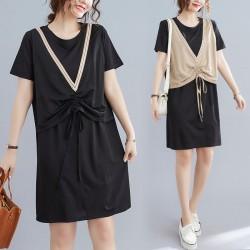 (F10052) 假兩件連身裙 (大碼款)