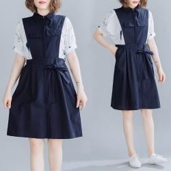 (F10049) 假兩件連身裙 (大碼款)