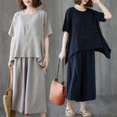 (F01156) 寬鬆上衣+ 九分闊腿褲 套裝(大碼款)