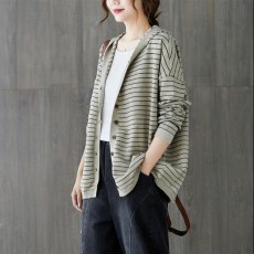 (F01132) 針織衫連帽外套 (大碼款)