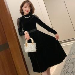 (MA2005)立領拼接蕾絲百褶傘擺絲絨連身裙