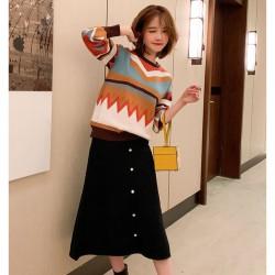 (MA2003)針織毛衣+中長款半身裙 套裝