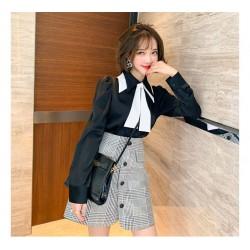 (MA2007) 蝴蝶結恤衫+格紋單排扣高腰A字短裙套裝