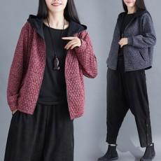 (深灰M有現貨)(F01096) 菱格夾棉連帽短外套 (大碼款)