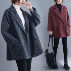 (F01079) 間條毛呢西裝外套(大碼款)