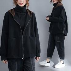 (F01080) 拼色連帽牛仔短外套(大碼款)