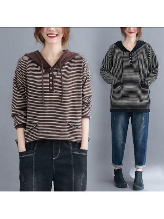 (F01081) 間條長袖針織衫(大碼款)