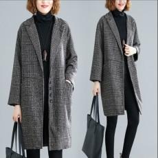 (F01057) 西裝領毛呢外套 (大碼款)