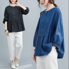(藍色有現貨)(F01045) 泡泡袖牛仔恤衫(大碼款)
