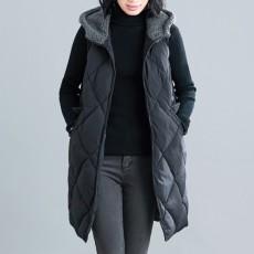 (F01050) 夾綿連帽背心外套 (大碼款)