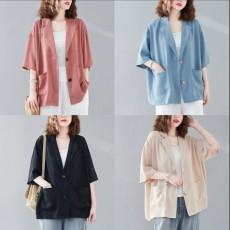 (F01012) 薄款垂感雪紡中袖外套 (大碼款)