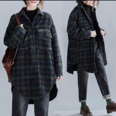 (F01014) 加厚毛呢格子外套 (大碼款)