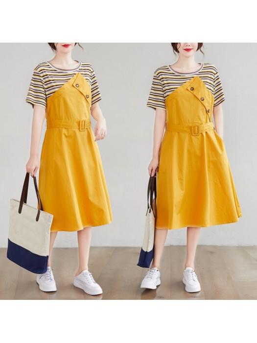 (F9155) 假兩件連身裙 (大碼款)