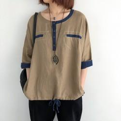 (NA2372) 簡約麻棉上衣