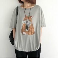 (NA2339) 貓 簡約棉質上衣