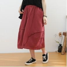 (NA2334) 簡約麻棉半身裙