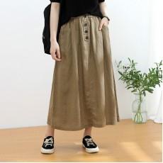(NA2325) 簡約麻棉半身裙