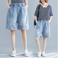 (F8590) 牛仔短褲 (大碼款)