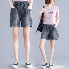 (F8599) 牛仔短褲 (大碼款)