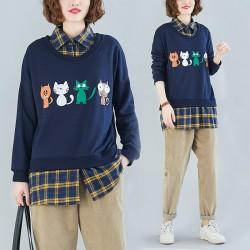 (F8436)   貓  假兩件上衣 (大碼款)