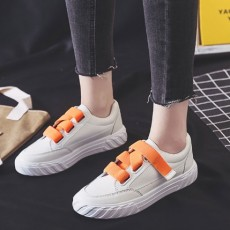 (SH023) 平底魔術貼PU皮白鞋