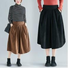 (F8385) 燈芯絨半身裙 (大碼款)