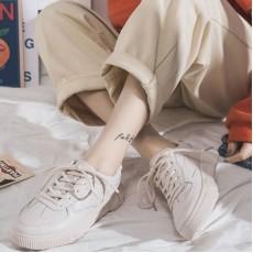 (SH025) 平底PU皮白鞋