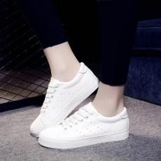 (SH020) 平底PU彷皮運動款白鞋