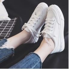 (SH017) 平底彷皮白鞋