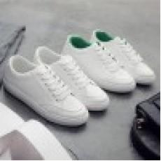 (SH018) 平低PU彷皮運動款白鞋