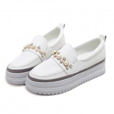(SH021) 厚底亮珠裝飾小白鞋