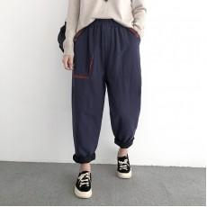 (NA2191) 簡約夾棉長褲