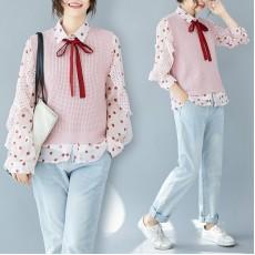 (F8265) 恤衫背心兩件套 (大碼款)
