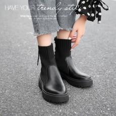 (B012)英倫風帥氣秋冬款襪靴短靴