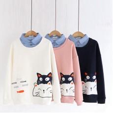 日系(WA9171) 貓  假兩件上衣